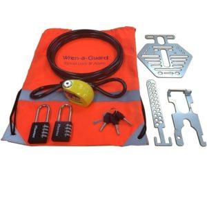 Wren-a-Guard tripod lock, alarm and accessories