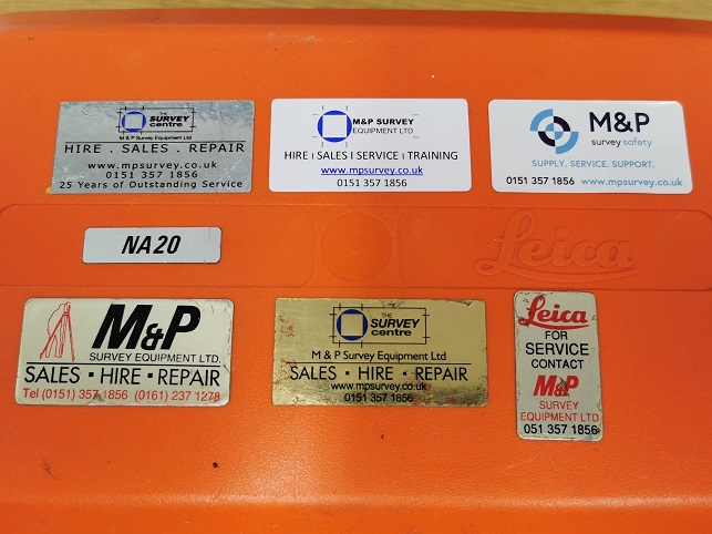 M&P Survey Equipment stickers through the years
