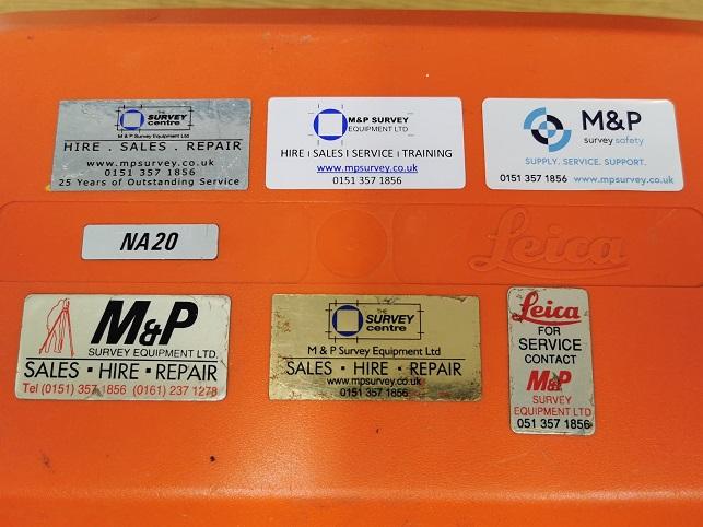 M&P Survey Equipment stickers through the years